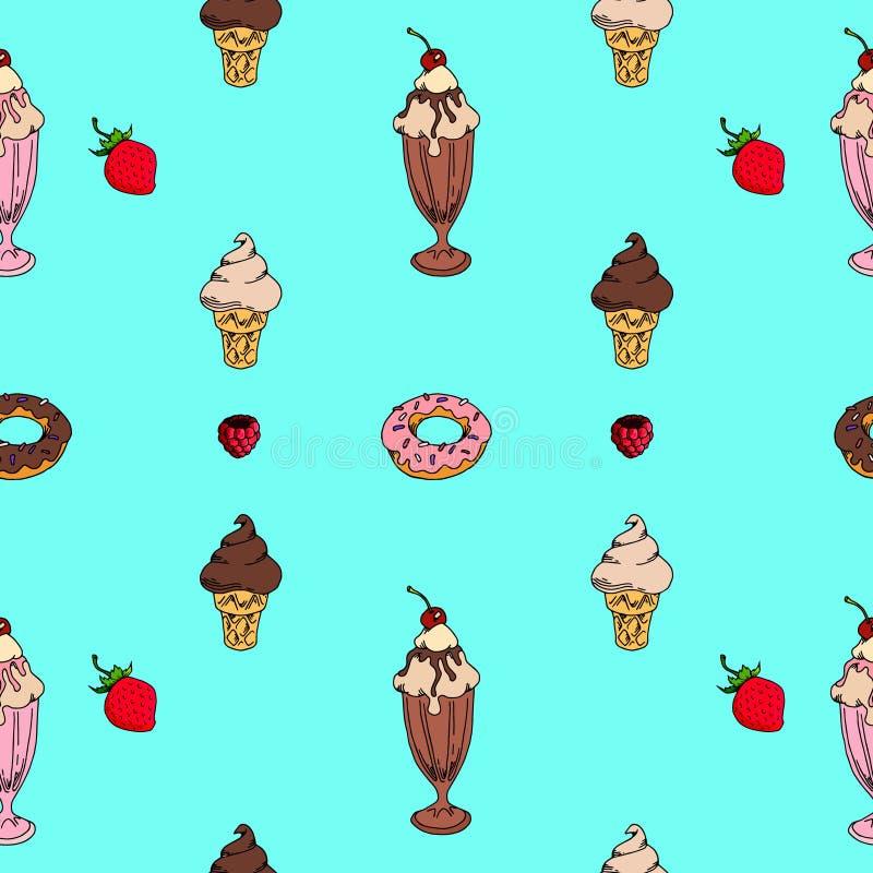 Bezszwowy deseniowy słodki lody menu, pocztówka royalty ilustracja