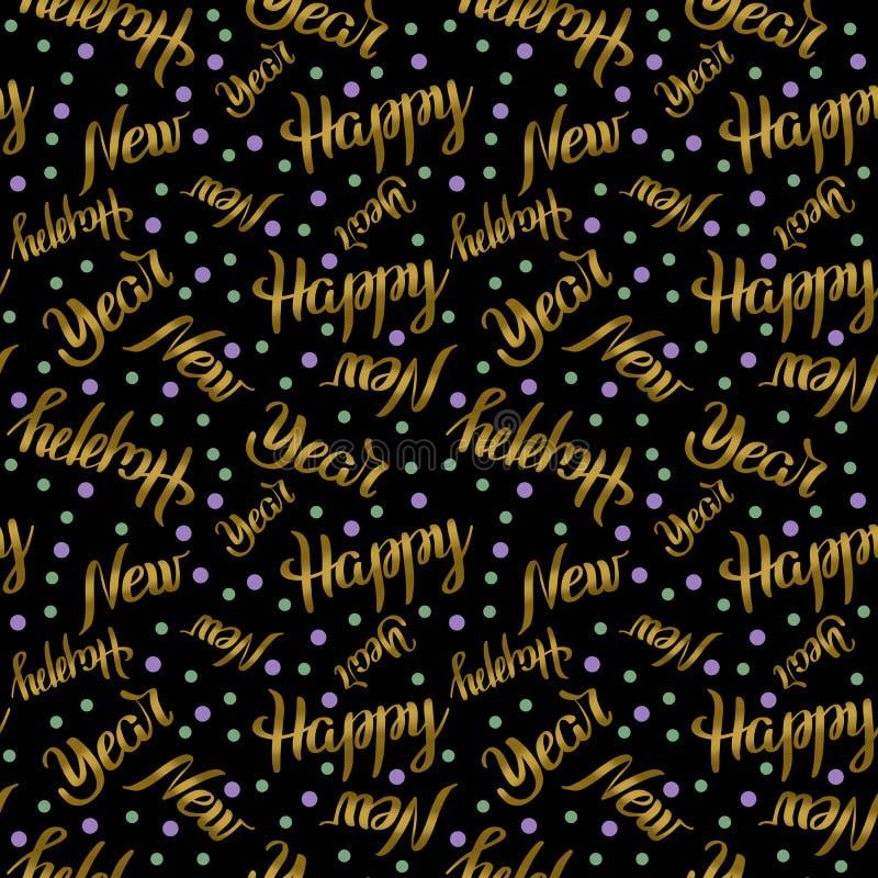 Bezszwowy deseniowy Szczęśliwy nowy rok pisze list złotego kolor z confetti na czarnym tle Wakacyjna ilustracja royalty ilustracja