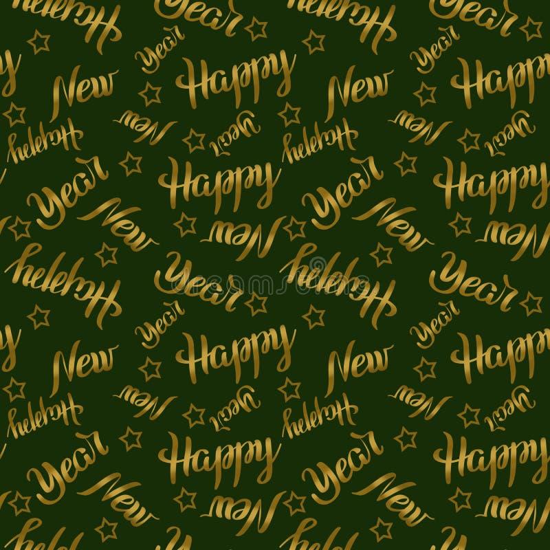 Bezszwowy deseniowy Szczęśliwy nowy rok pisze list złotego kolor z gwiazdami na zielonym tle Wakacyjna ilustracja ilustracji