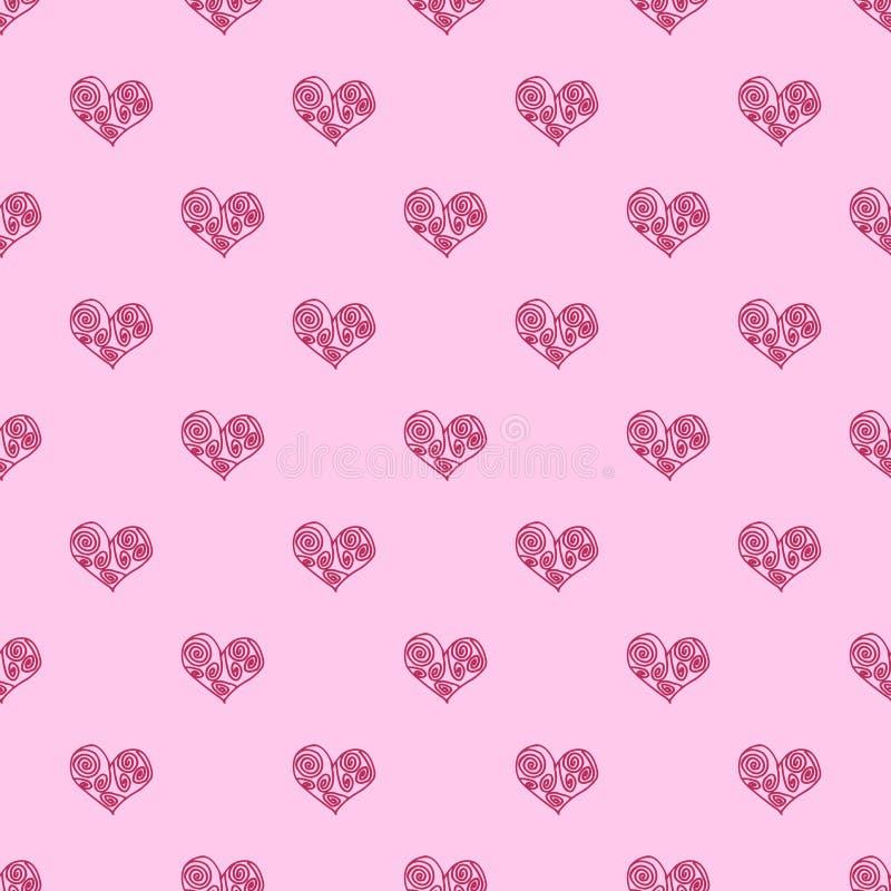 Bezszwowy deseniowy tła serce Wielostrzałowy serce wzór Różowy serce wzór Grecki serce wzór ilustracji