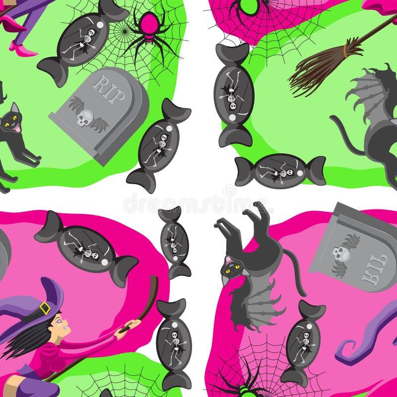 Bezszwowy deseniowy tło dla Halloweenowej czarownica kota miotły uskrzydla cukierku nagrobku miotły pająka sieć jaskrawą - zielen ilustracji