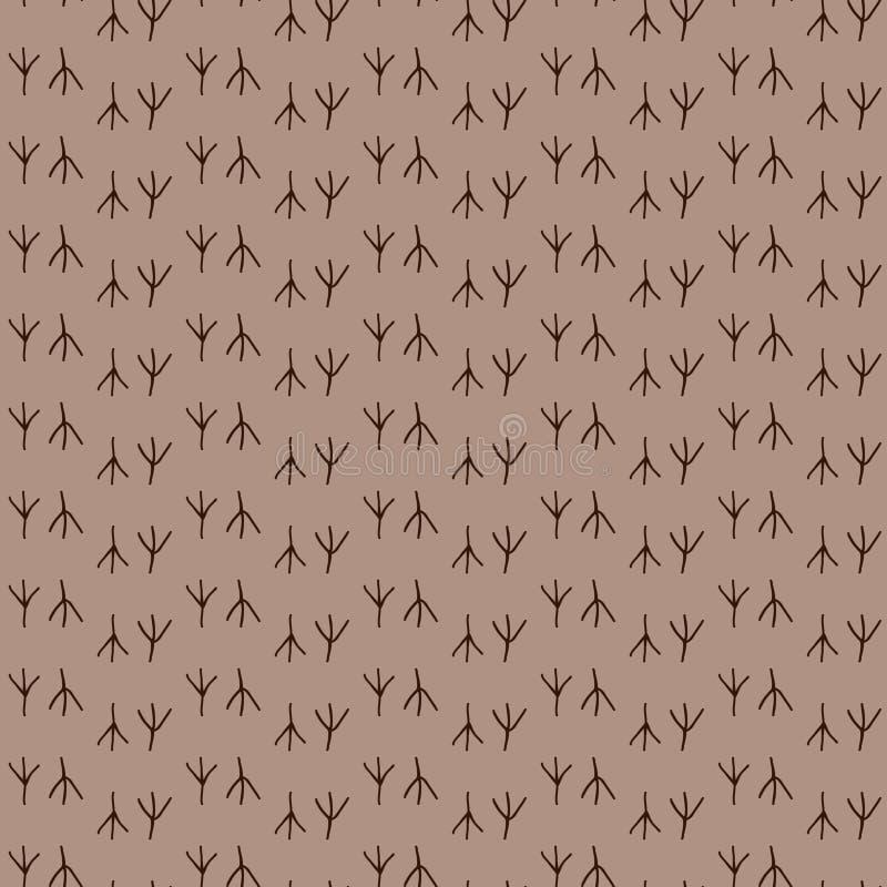 Bezszwowy deseniowy tło ptaka odcisk stopy Drukuje wektor Brown tapeta ilustracja wektor