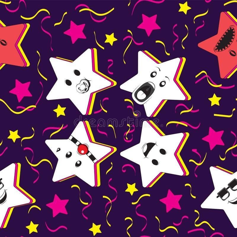 Bezszwowy deseniowy tło z gwiazdowym charakterem i świątecznymi confetti, humor Dla druk tkaniny tło niebieski obraz nieba t?czow ilustracji