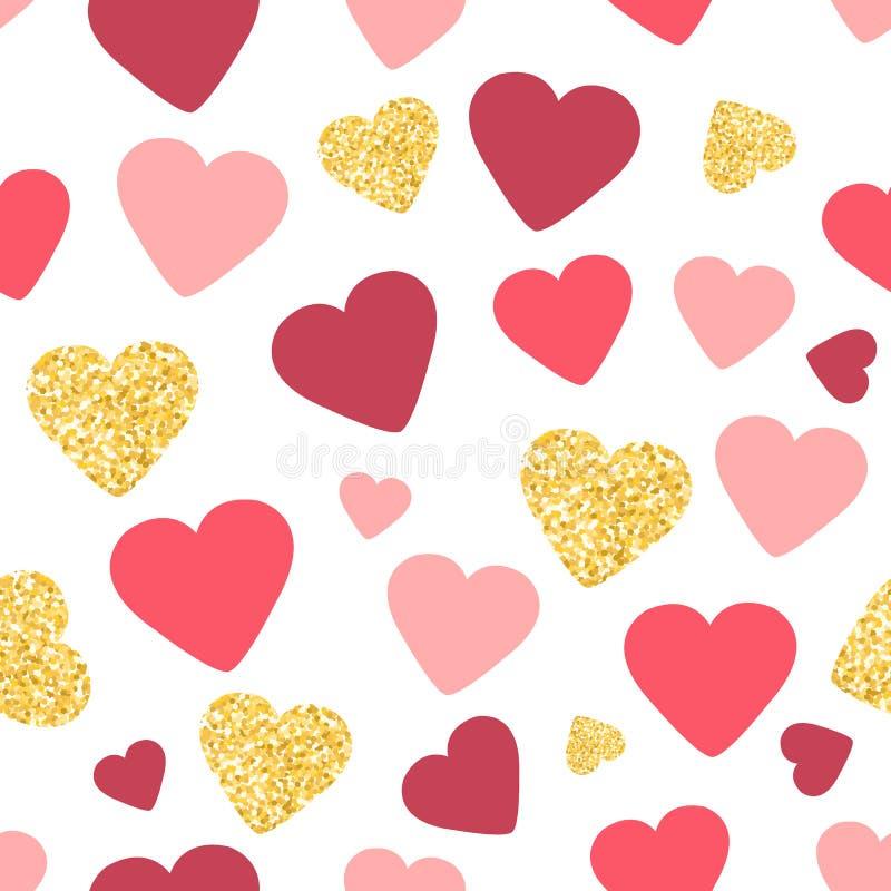 Bezszwowy deseniowy tło z złocistą błyskotliwością i różowymi sercami pocałunek miłości człowieka koncepcja kobieta śliczna tapet royalty ilustracja