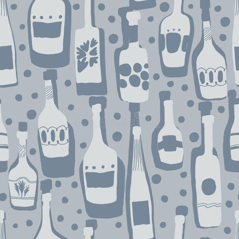 Bezszwowy deseniowy t?o z pr?towymi butelkami Ręki rysować szklane butelki ilustracja wektor