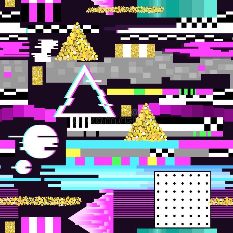 Bezszwowy Deseniowy usterka projekt Cyberpunk Cyfrowego tło z Geometrycznymi Gradientowymi elementami Abstrakcjonistyczny skład royalty ilustracja