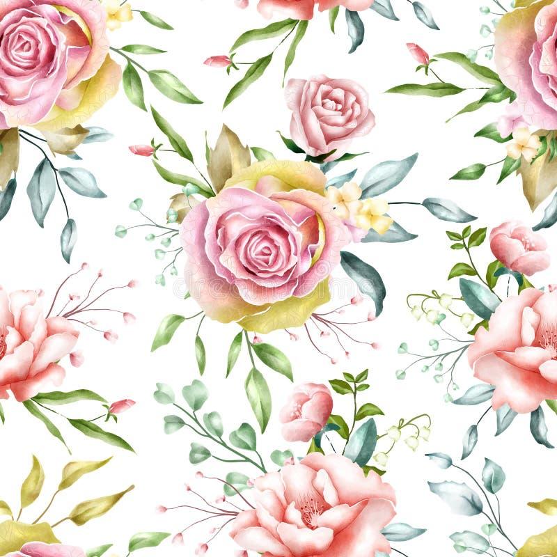 Bezszwowy deseniowy watercolour kwitnie z liśćmi royalty ilustracja