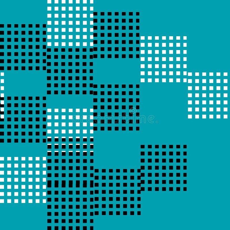 Bezszwowy deseniowy wektor abstrakcjonistyczny i przypadkowy czarny i biały kwadrat na błękitnym tle royalty ilustracja