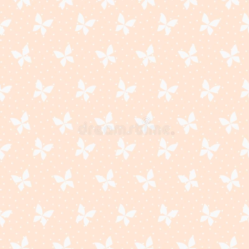 Bezszwowy deseniowy wektor Malutki motyl na pastelowych menchii tle royalty ilustracja