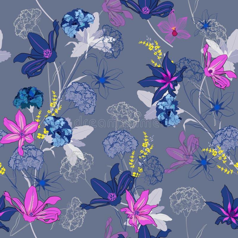 Bezszwowy deseniowy wektor ogrodowi coloful i słodcy kwiaty jest ilustracji