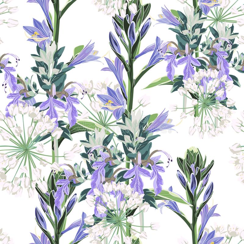 Bezszwowy deseniowy Wektorowy kwiecisty akwarela stylu projekt: dzicy fiołków kwiaty i biali ziele royalty ilustracja