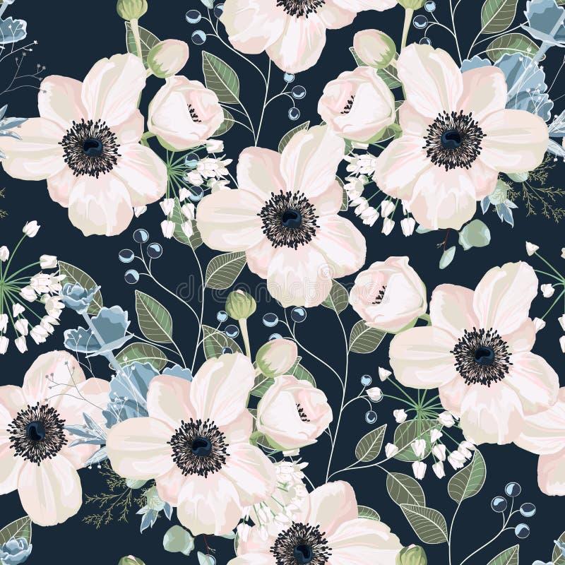 Bezszwowy deseniowy Wektorowy kwiecisty akwarela stylu projekt: ogrodowy prochowy Anemonowy kwiat royalty ilustracja