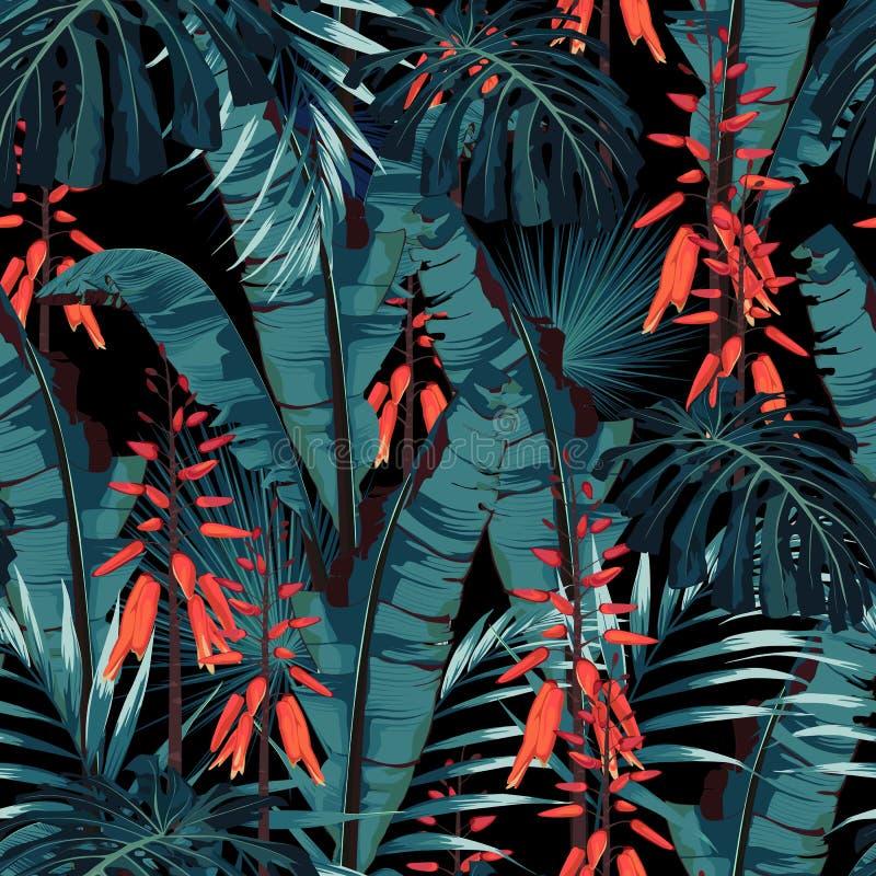 Bezszwowy deseniowy wektorowy kwiecisty akwarela stylu projekt: sukulent w kwiacie z pomarańcze kwiatami i liśćmi palmy i bananów ilustracja wektor