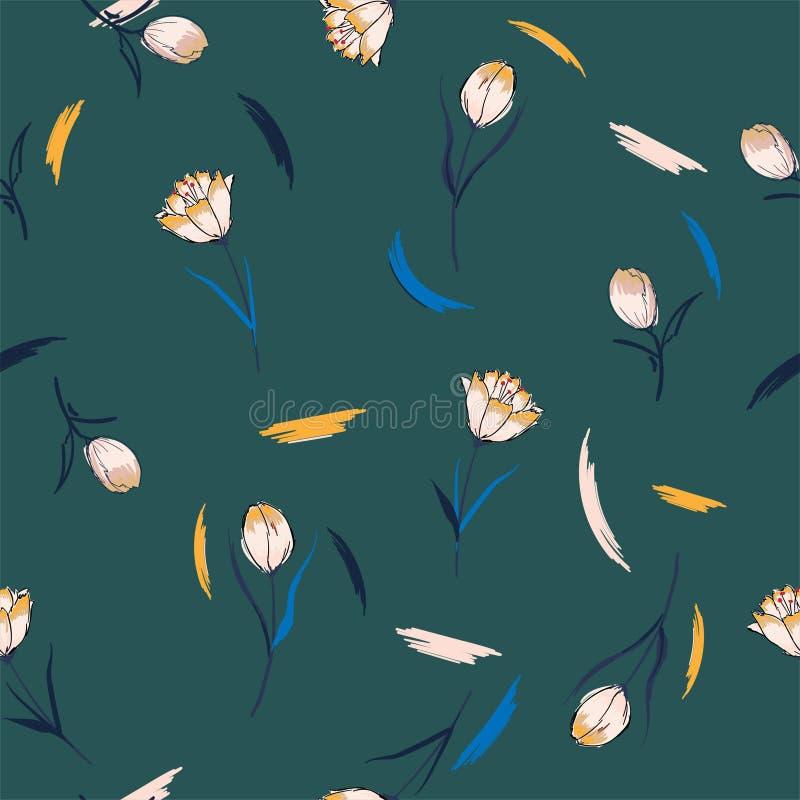 Bezszwowy deseniowy wektorowy tło z kolorowymi tulipanami Ręka rysująca royalty ilustracja