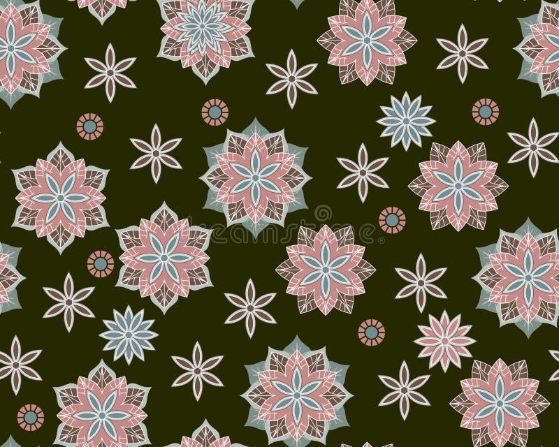 Bezszwowy ditsy wzór z abstraktów kwiatów mandalas na czarnym tle Druk dla tkaniny Etniczny motyw ilustracji
