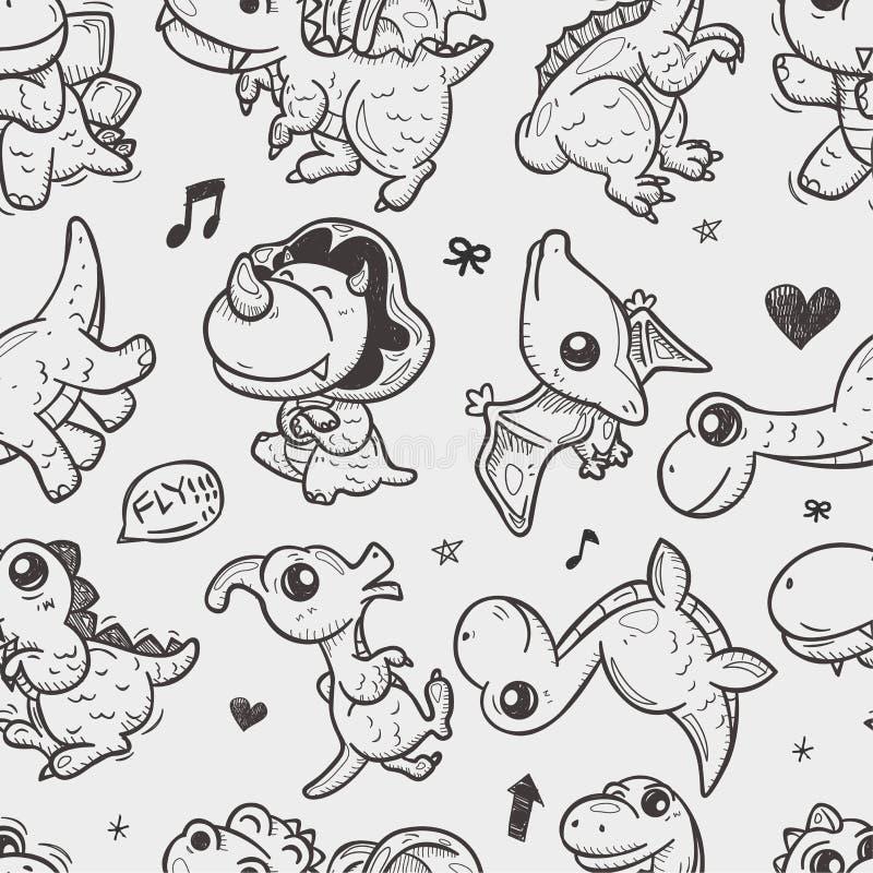 Bezszwowy doodle dinosaura wzór royalty ilustracja