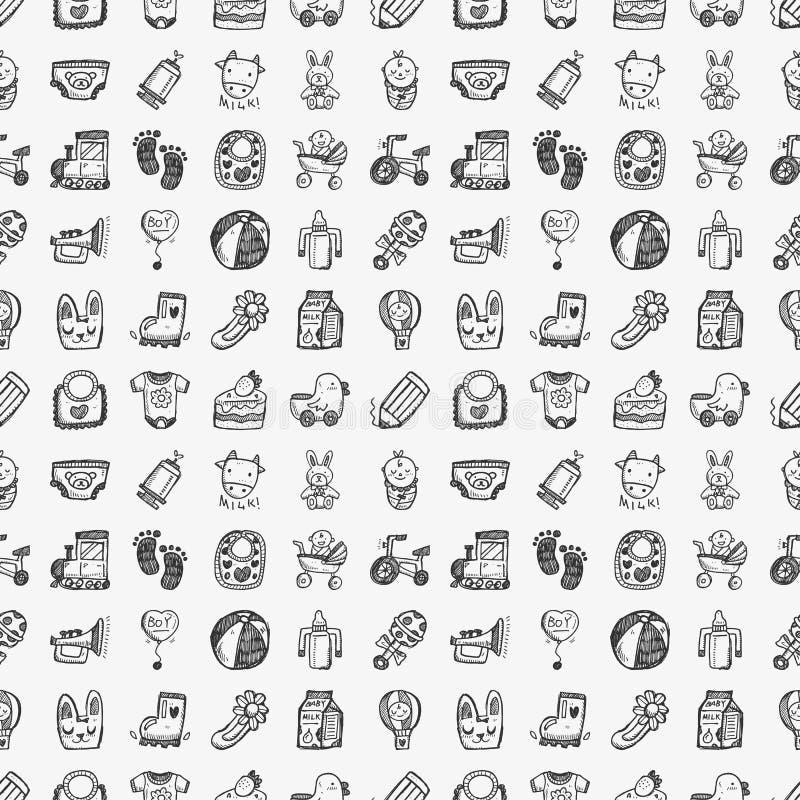 Bezszwowy doodle dziecka wzór royalty ilustracja