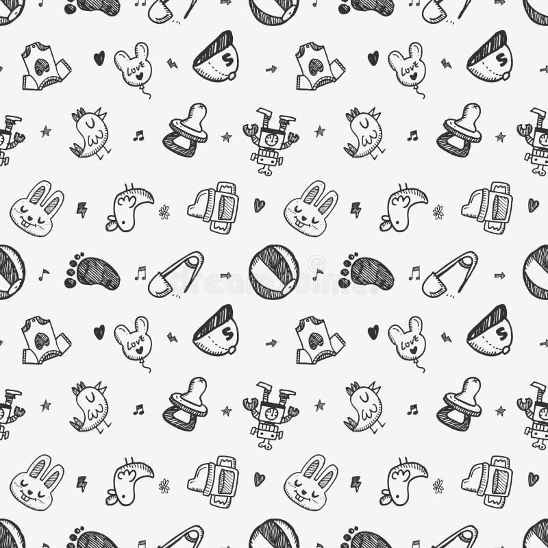Bezszwowy doodle dziecka wzoru tło royalty ilustracja