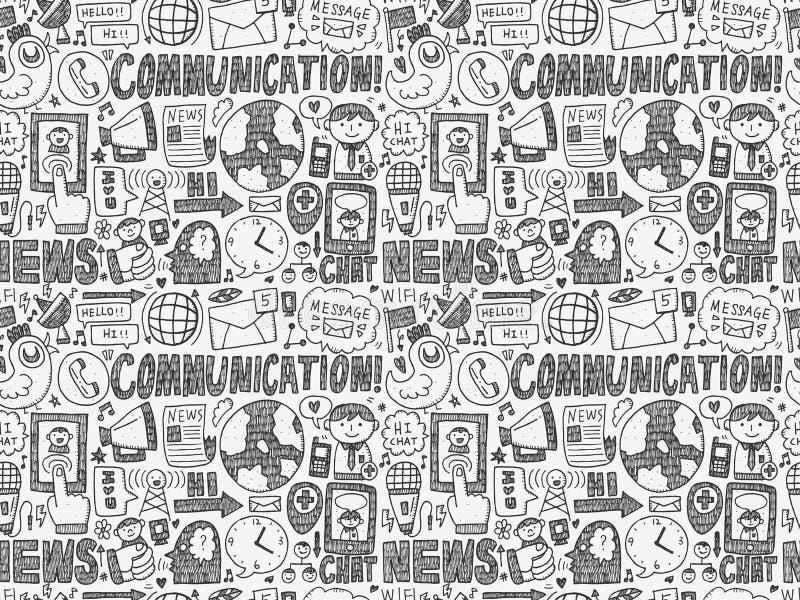 bezszwowy doodle komunikacyjny wzór ilustracji