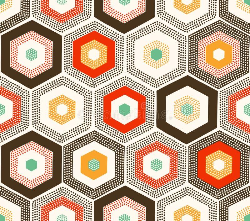 Bezszwowy doodle kropkuje heksagonalnego wzór ilustracja wektor