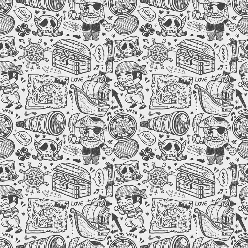 Bezszwowy doodle pirata wzór ilustracja wektor