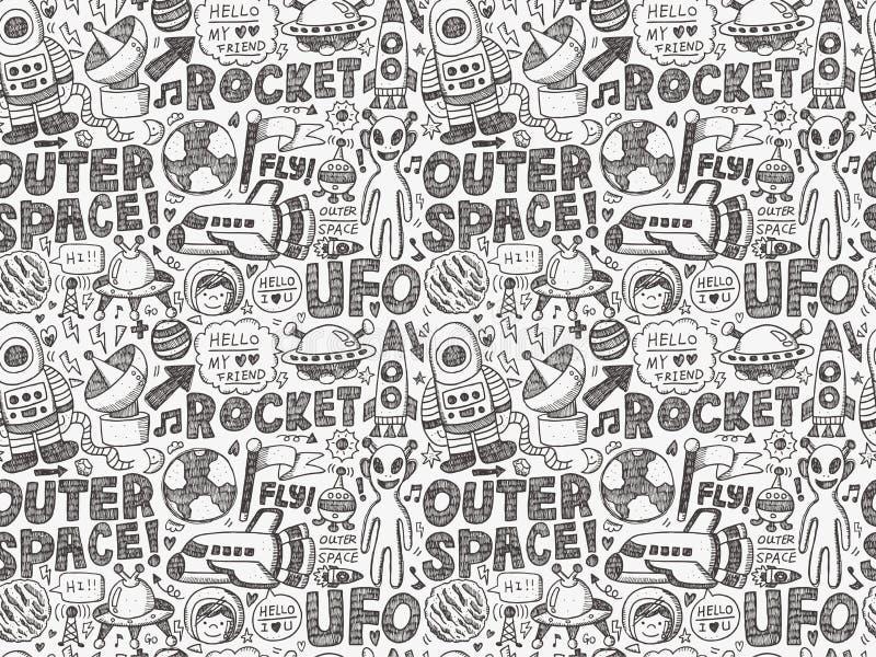 Bezszwowy doodle przestrzeni wzór royalty ilustracja