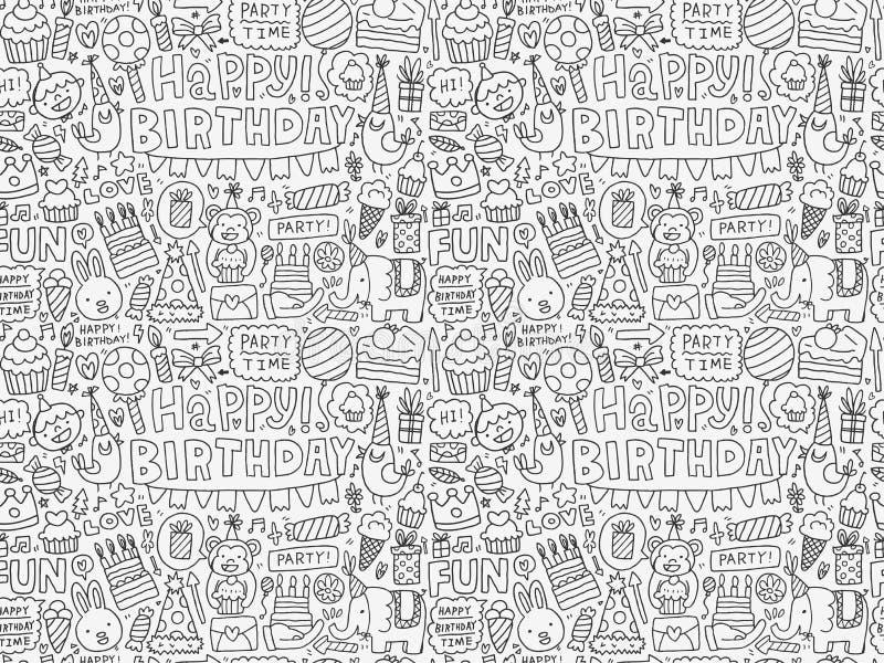Bezszwowy Doodle przyjęcia urodzinowego wzoru tło royalty ilustracja