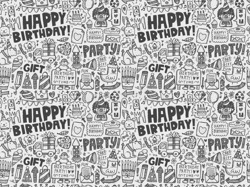 Bezszwowy Doodle przyjęcia urodzinowego wzoru tło ilustracji