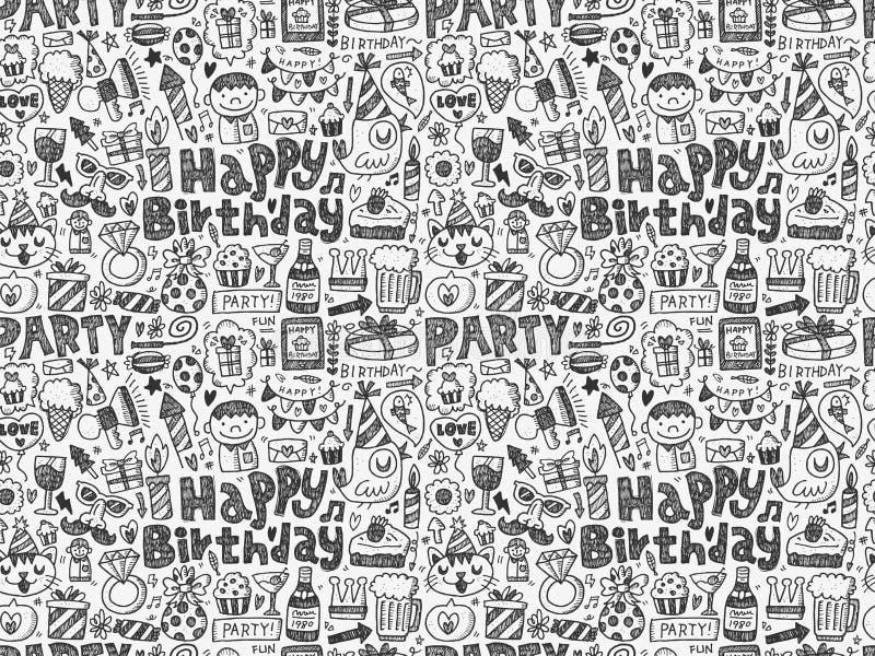 Bezszwowy Doodle przyjęcia urodzinowego wzoru tło ilustracja wektor