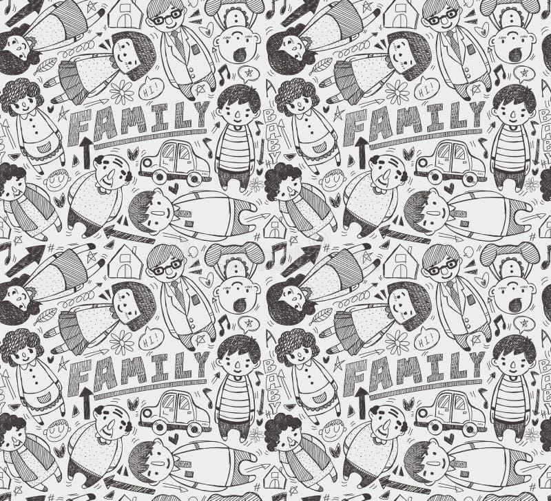 Bezszwowy doodle rodziny wzór royalty ilustracja