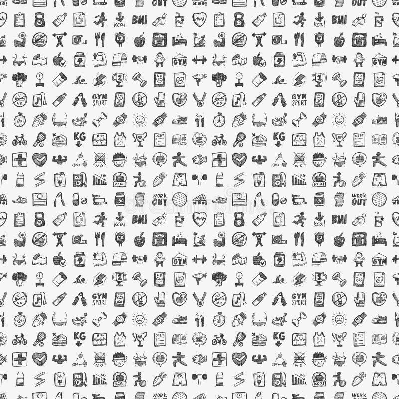 Bezszwowy doodle sprawności fizycznej wzór ilustracja wektor