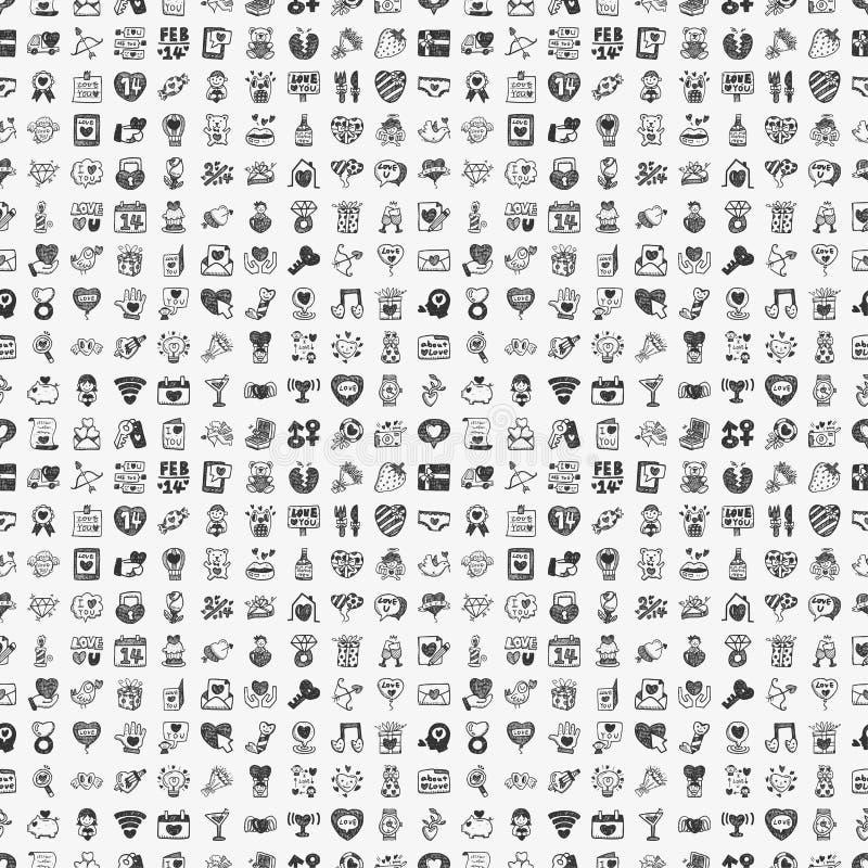 Bezszwowy doodle walentynek dnia wzór ilustracja wektor