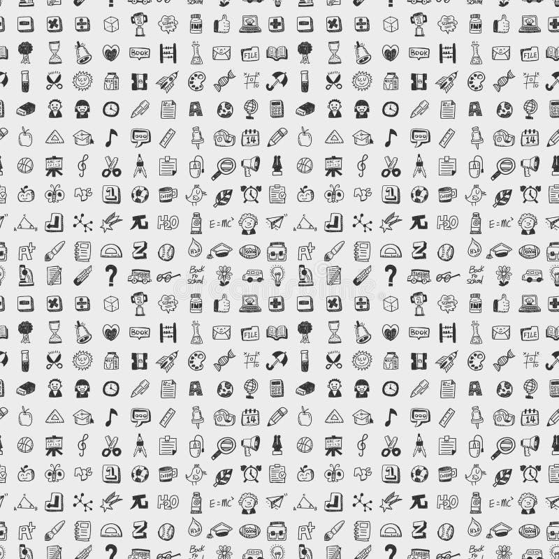 Bezszwowy doodle z powrotem szkoła elementu wzoru tło ilustracja wektor