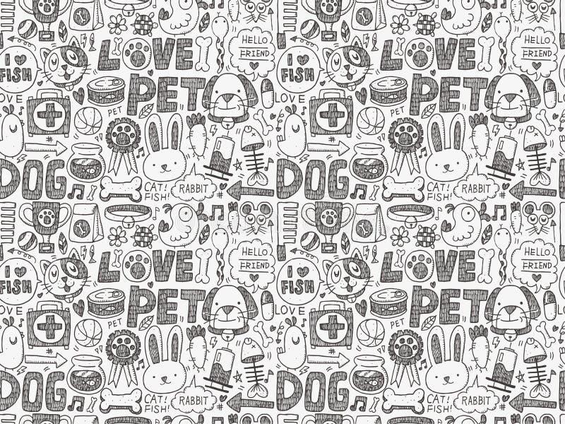 Bezszwowy doodle zwierzęcia domowego wzór royalty ilustracja