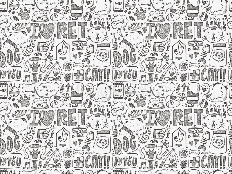 Bezszwowy doodle zwierzęcia domowego wzór ilustracji