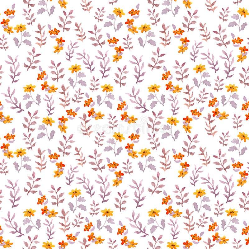 Bezszwowy dziecięcy kwiecisty wzór Śliczni kwiaty i akwarela liście na białym tle royalty ilustracja