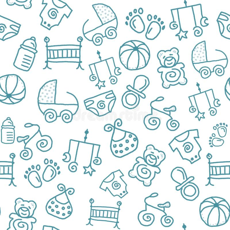 Bezszwowy dziecięcy wzór dla tapety lub jakaś tła ilustracja wektor