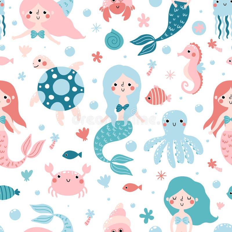 Bezszwowy dziecięcy wzór z ślicznymi syrenkami i morskimi zwierzętami royalty ilustracja