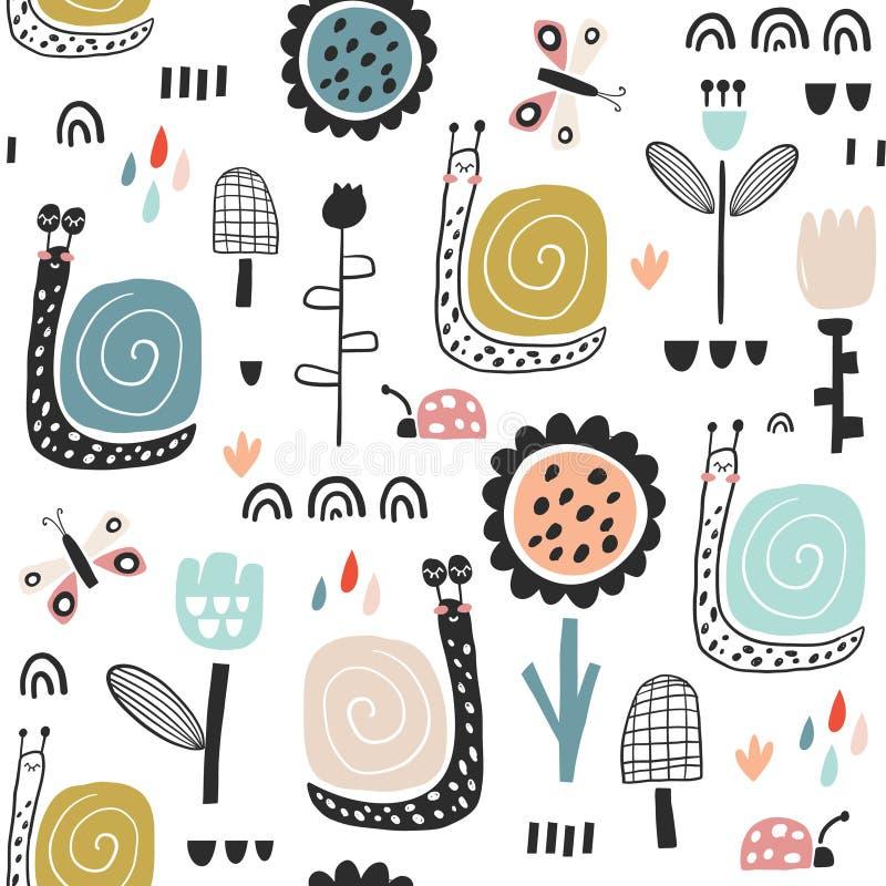 Bezszwowy dziecięcy wzór z czarodziejskimi kwiatami, ślimaczki, motyle Kreatywnie dzieciaka miasta tekstura dla tkaniny, opakowan ilustracja wektor