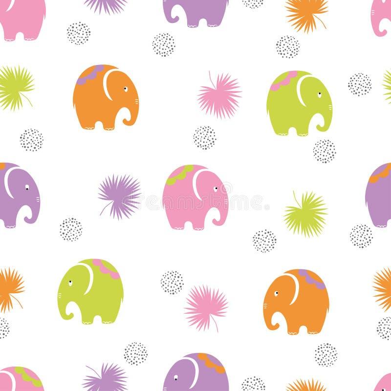 Bezszwowy dziecko wzór z ślicznymi kolorowymi słoniami royalty ilustracja
