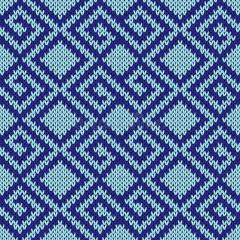Bezszwowy dziewiarski geometrical wzór w błękitnych odcieniach royalty ilustracja