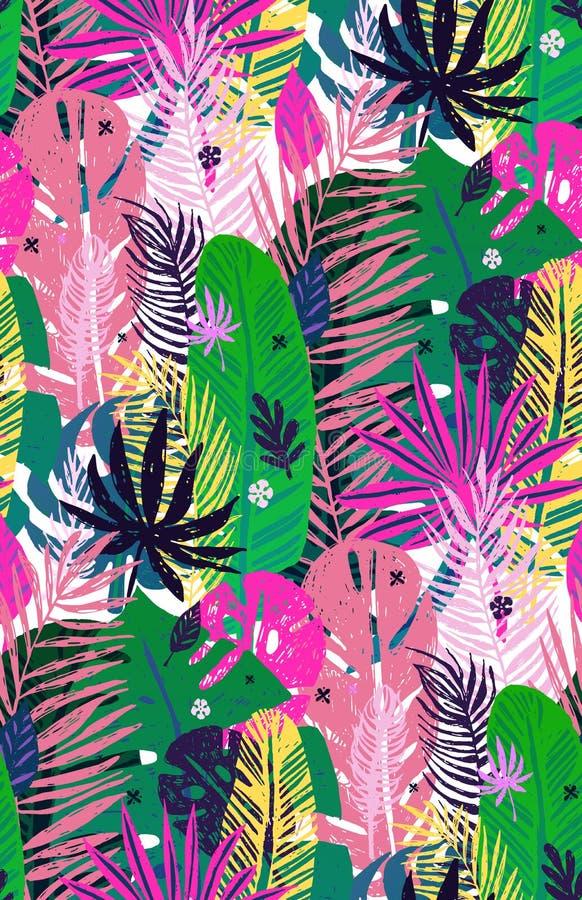 Bezszwowy egzota wzór z żyłkowanymi tropikalnymi palmowymi liśćmi, lata tło Wektorowa botaniczna ilustracja, projekt royalty ilustracja