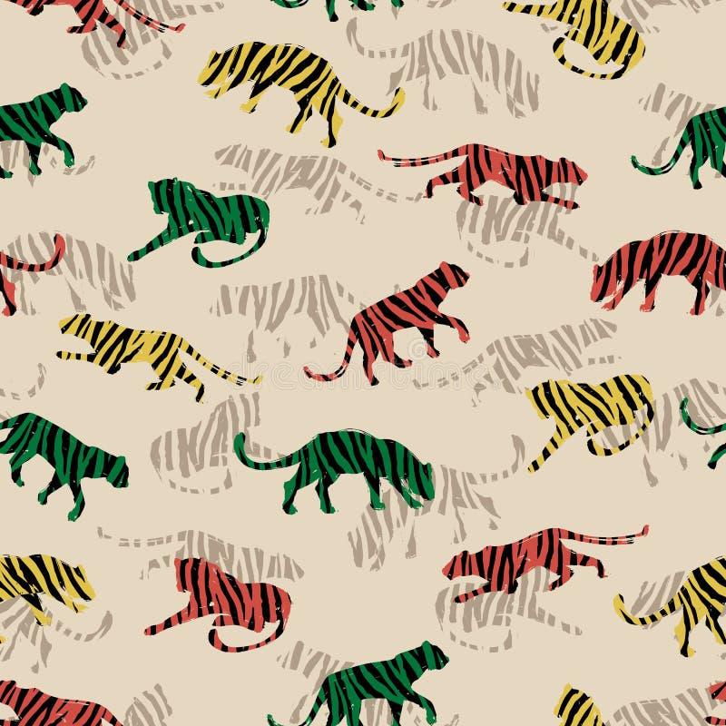 Bezszwowy egzota wzór z abstrakcjonistycznymi sylwetkami tygrysy ilustracji