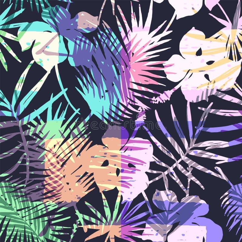 Bezszwowy egzota wzór z tropikalną palmą w jaskrawym kolorze ilustracji