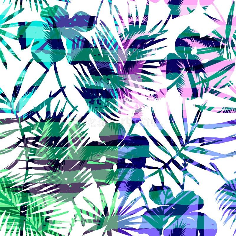 Bezszwowy egzota wzór z tropikalną palmą w jaskrawym kolorze royalty ilustracja