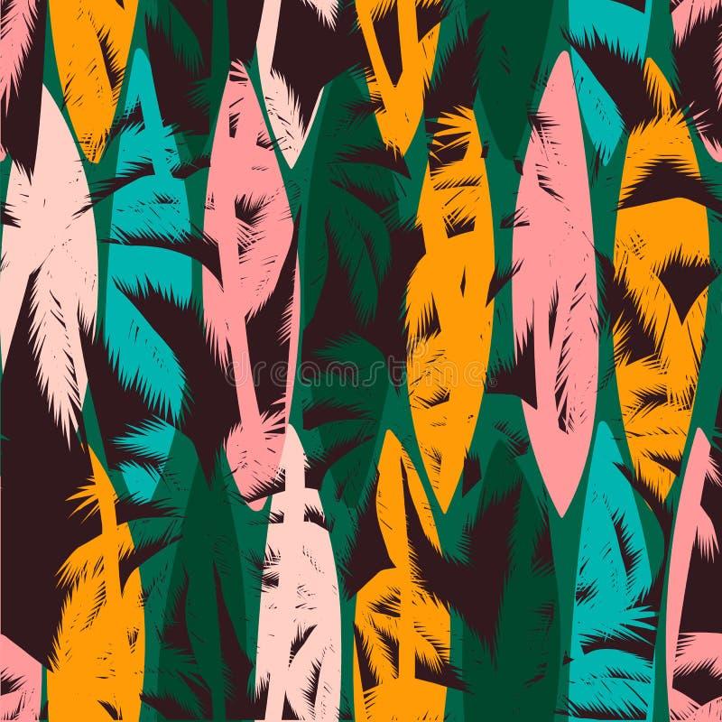 Bezszwowy egzota wzór z tropikalnymi palmami i artystycznym tłem ilustracji