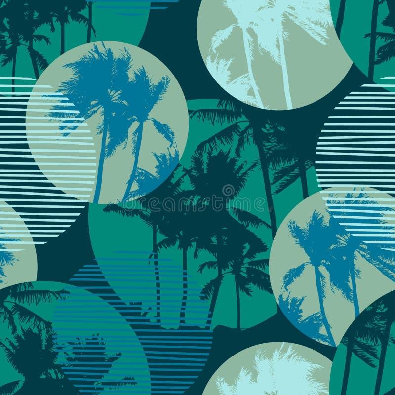 Bezszwowy egzota wzór z tropikalnymi palmami i geometrycznym tłem ilustracja wektor