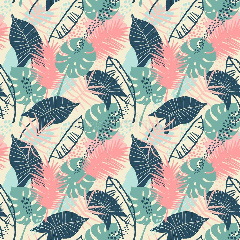 Bezszwowy egzota wzór z tropikalnymi roślinami ilustracji