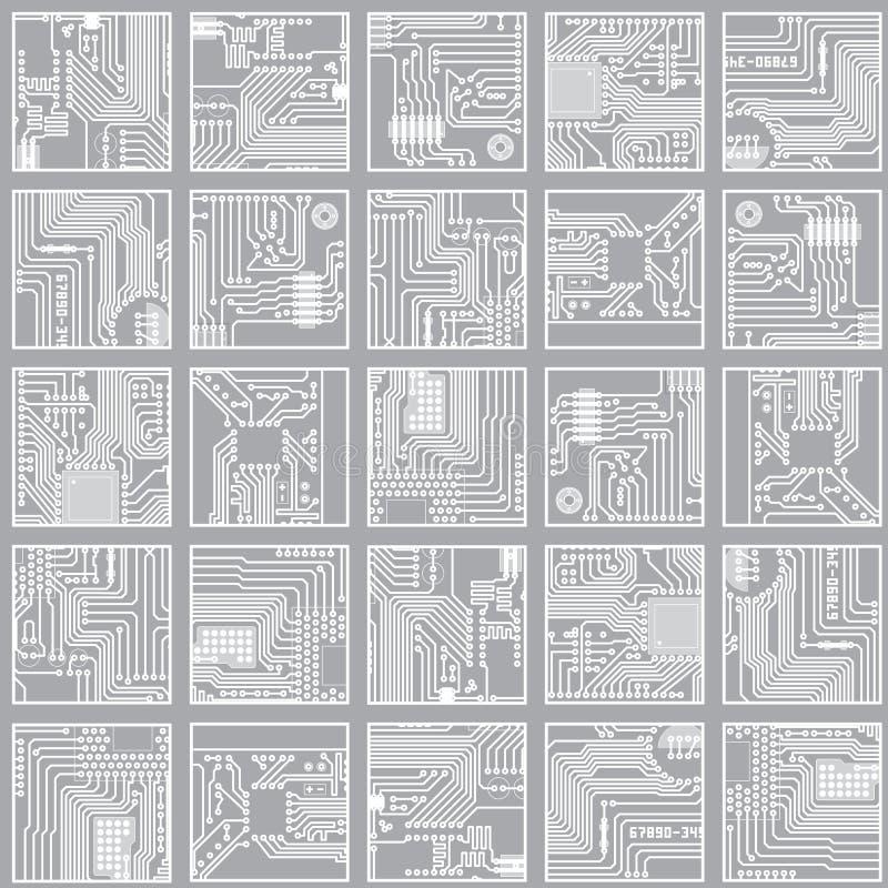 Bezszwowy elektroniczny wzór. Komputerowego obwodu knur royalty ilustracja