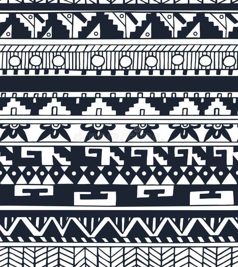 Bezszwowy etniczny geometryczny doodle monochromu wzór w wektorze royalty ilustracja